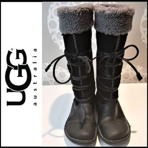 UGG Suede/Sheepskin Knee Boot w/Leather Wrap 7